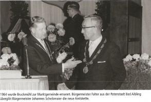 Ernennung von Bruckmühl zur Marktgemeinde im Jahr 1964